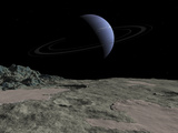 Illustration of the Gas Giant Neptune as Seen from the Surface of its Moon Triton