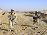 Soldiers Conduct a Perimeter Security Check around a Combat Outpost in Diwar  Afghanistan