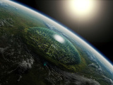 Artist's Concept of a Giant Domed City in an Asteroid Crater on a Hypothetical Planet