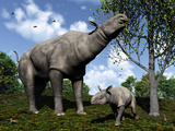 A Paraceratherium Mother Grazes on Leaves and Twigs of a Poplar Tree