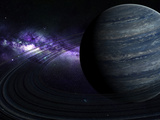Artist&#39;s Concept of a Blue Ringed Gas Giant in Front of a Galaxy
