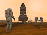 Illustration of Astronauts Setting Up a Base on the Martian Surface around their Lander Vehicle