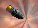 Illustration of a Spacecraft Travelling Faster Than the Speed of Light