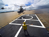 A Brazilian Eurocopter Prepares to Land Aboard a Brazilian Navy Hospital Ship