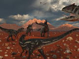 A Pack of Allosaurus Dinosaurs Track Down a Pair of Stegosaurus