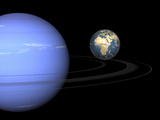 Artist' Concept of Neptune and Earth