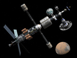 A Manned Mars Cycler Space Station Approaches the Planet Mars