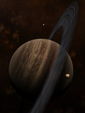 Artist&#39;s Concept of a Ringed Gas Giant and its Moons