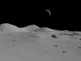 Artist's Concept of a View across the Surface of the Moon Towards Earth in the Distance