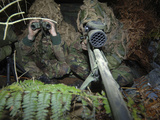 A British Army Sniper Team Dressed in Ghillie Suits
