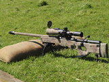 A British Army Arctic Warfare Magnum L115A3 Sniper Rifle