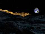 Illustration of the Peaks Surrounding the Peary Crater on Earth&#39;s Moon