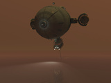 Illustration of a Blimp Towing a Sensor Through Liquid Ethane on Titan
