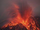 Vulcanian Eruption with Glowing Lava Bombs on Sakurajima Volcano  Japan