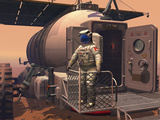 Illustration of an Astronaut Leaving their Mars Rover Vehicle to Explore the Planet&#39;s Surface