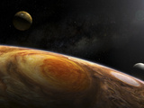 Jupiter&#39;s Moons Io and Europa Hover over the Great Red Spot on Jupiter