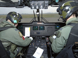 Pilots Inside the Cockpit of a Royal Air Force Merlin Helicopter at RAF Lyneham