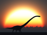 A Silhouetted Omeisaurus Walks Pass the Rising Sun at the Start of a New Day