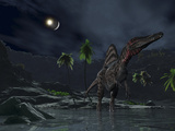 An Asteroid Impact on the Moon While a Spinosaurus Wanders in the Foreground