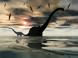 Diplodocus Dinosaurs Bathe in a Large Body of Water