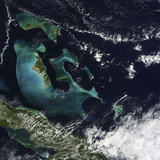 Satellite View of the Bahama Islands in the Atlantic Ocean