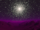 Illustration of a Globular Cluster over the Terrain of a Barren Planet