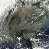 A Pinwheel-Like Pattern of High Pressure Clouds Stretches across the Eastern United States