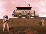 Illustration of Astronauts Examining an Outcrop of Sedimentary Rock on a Martian Dune Field