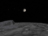 Artist&#39;s Concept of a View across the Surface of Themisto Towards Jupiter and its Moons