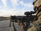 A Soldier Sights in to Fire on a Target on a Shooting Range