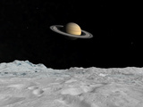 Artist&#39;s Concept of Saturn as Seen from the Surface of its Moon Iapetus