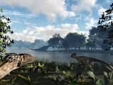 Sauroposeidon Graze While Feathered Deinonychus Look On