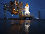 Night View of Space Shuttle Atlantis on the Launch Pad at Kennedy Space Center  Florida