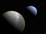 Illustration of the Gas Giant Planet Neptune and its Largest Moon Triton