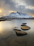 Novatinden Mountain and Skoddeberg Lake in Troms County  Norway