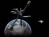 Artist&#39;s Concept of a Lunar Cycler Approaching Earth