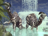 A Pair of Parasaurolophus Feed on Flora Near a Waterfall