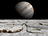 Artist&#39;s Concept of Jupiter as Seen across the Icy Surface of its Moon Europa