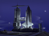 A Futuristic Space Shuttle Awaits Launch