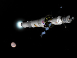 Phobos Mission Rocket Brakes for Mars Orbit