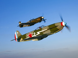 A Soviet Yakovlev Yak-3 and a P-51A Mustang in Flight