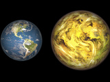 Illustration Comparing the Size of Extrasolar Planet Gliese 581 C with That of the Earth