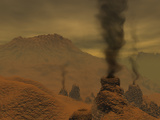 Artist's Concept of Volcanic Activity on the Surface of Venus