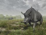 Brontotherium Wander the Lush Late Eocene Landscape