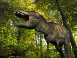 A Tyrannosaurus Wanders a Cretaceous Forest