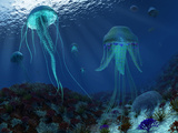 A Swarm of Jellyfish Swim the Panthalassic Ocean