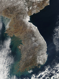 Satellite View of Snowfall Along South Korea's East Coast