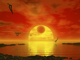 Flying Life Forms Grace the Crimson Skies of the Earth-Like Extrasolar Planet Gliese 581 C
