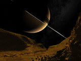 Illustration of Saturn from the Icy Surface of Enceladus