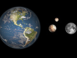 Artist's Concept of the Earth  Pluto  Charon  and Earth's Moon to Scale